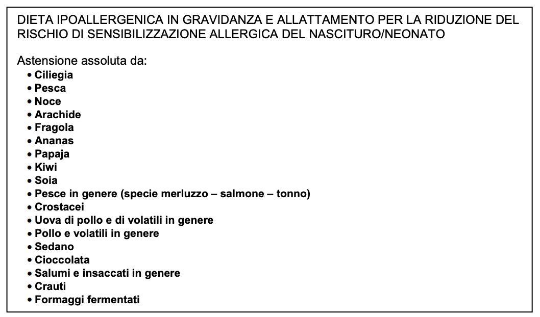 Dieta ipoallergenica in gravidanza e allattamento per la riduzione del rischio di sensibilizzazione allergica del Nascituro Neonato